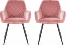 lot de 2 chaises lina en tissu velours de qualité, couleur rose vintage