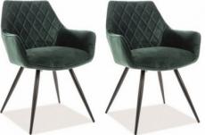 lot de 2 chaises lina en tissu velours de qualité, couleur vert