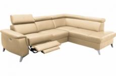 canapé d'angle en cuir italien de luxe 5/6 places avec relax électrique et coffre, lincoln, beige, angle droit