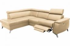 canapé d'angle en cuir italien de luxe 5/6 places avec relax électrique et coffre, lincoln, beige, angle gauche