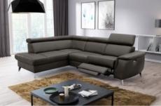 canapé d'angle en cuir italien de luxe 5/6 places avec relax électrique et coffre, lincoln, chocolat, angle gauche