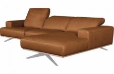 canapé d'angle en 100% tout cuir épais de luxe italien 5/6 places porto, couleur cognac, angle droit