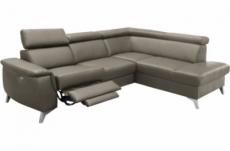 canapé d'angle en cuir italien de luxe 5/6 places avec relax électrique et coffre, lincoln, gris foncé, angle droit