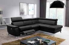 canapé d'angle en cuir italien de luxe 5/6 places avec relax électrique et coffre, lincoln, noir, angle droit