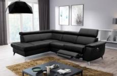 - canapé d'angle en cuir italien de luxe 5/6 places avec relax électrique et coffre, lincoln, noir, angle gauche