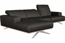 - canapé d'angle en 100% tout cuir épais de luxe italien 5/6 places porto, noir, angle gauche