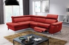 canapé d'angle en cuir italien de luxe 5/6 places avec relax électrique et coffre, lincoln, rouge foncé, angle gauche
