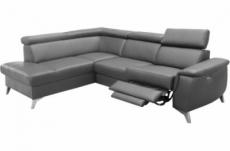 canapé d'angle en cuir italien de luxe 5/6 places avec relax électrique et coffre, lincoln, gris foncé, angle gauche