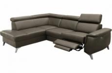 canapé d'angle en cuir italien de luxe 5/6 places avec relax électrique et coffre, lincoln, taupe, angle gauche