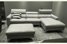canapé d'angle en cuir buffle italien de luxe, 5 places armano, gris clair, angle droit