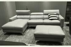 canapé d'angle en cuir buffle italien de luxe 5 places armano, gris clair, angle gauche