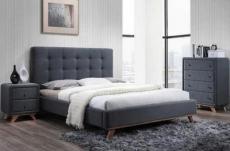 lit double en tissu de qualité melanie, gris, avec sommier à lattes, 160x200, + 1 chevet