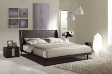 lit design en cuir italien de luxe azuro, avec sommier à lattes, couleur chocolat, 140x200