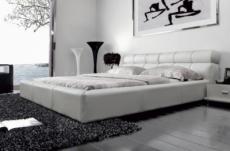 lit en cuir italien de luxe reva, 140x190, blanc