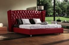 lit design de luxe princesse, avec sommier à lattes, bordeaux, 160x200