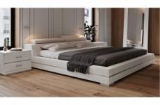 lit design en cuir italien de luxe fendo, avec sommier à lattes, blanc, 160x200