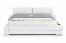 lit design en cuir italien de luxe fendo, avec sommier à lattes, blanc, 140x190