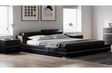 lit design en cuir italien de luxe fendo, avec sommier à lattes, noir, 180x200