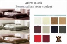 lit design en cuir italien de luxe fendo, avec sommier à lattes, couleur personnalisée, 140x190