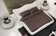 lit en cuir italien de luxe luxen, blanc liseret chocolat, 140x190, en stock