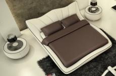 lit en cuir italien de luxe luxen, écru et liseret chocolat, 180x200