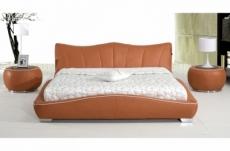 lit en cuir italien de luxe luxen, marron
