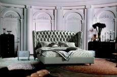 lit design de luxe princesse, avec sommier à lattes, gris clair 180x200