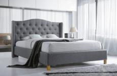 lit double en tissu velours de qualité asma, gris, avec sommier à lattes, 140x200