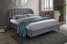 lit double en tissu velours de qualité lito, gris foncé, avec sommier à lattes, 160x200