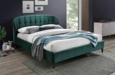 lit double en tissu velours de qualité lito, vert foncé, avec sommier à lattes, 160x200