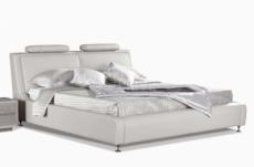 lit en cuir italien de luxe livourne 160x200, blanc.