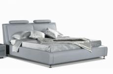 lit en cuir italien de luxe livourne 140x190, gris clair.