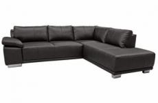 canapé d'angle convertible london en simili cuir noir de qualité, angle droit