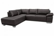 canapé d'angle convertible london en simili cuir noir de qualité, angle gauche