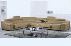 canapé d'angle en cuir buffle italien de luxe 7 places londres beige, angle gauche
