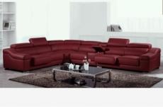 canapé d'angle en cuir buffle italien de luxe 7 places londres bordeaux, angle gauche