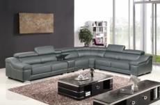 canapé d'angle en cuir buffle italien de luxe 7 places londres, gris foncé, angle droit
