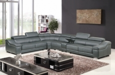 canapé d'angle en cuir buffle italien de luxe 7 places londres gris foncé, angle gauche