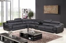 solde de paiement de la commande: canapé d'angle en cuir buffle italien de luxe 7 places londres noir, angle gauche, 6x sans frais, total 2398 euros