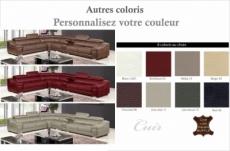 canapé d'angle en cuir buffle italien de luxe 7 places londres couleur personnalisée, angle gauche