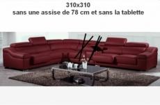 commande sur mesure: canapé d'angle en cuir buffle italien de luxe londres bordeaux, sur mesure personnalisé, 310x310 cm, une assise en moins de 78 cm et la tablette en moins, sur la grande longueur
