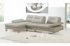 canapé d'angle en cuir italien 5 places lounge, beige