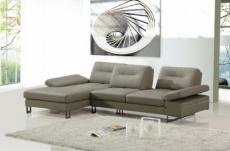 canapé d'angle en cuir italien 5 places lounge, gris pastel