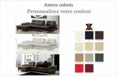 canapé d'angle en cuir italien 5 places lounge, couleur personnalisée