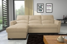 - canapé d'angle convertible en cuir de luxe italien , 5 places lugano, beige, angle gauche