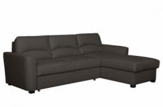 canapé d'angle convertible en cuir de luxe italien , 5 places lugano, chocolat, angle droit
