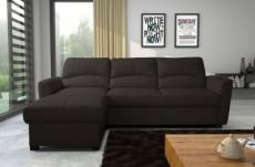 - canapé d'angle convertible en cuir de luxe italien , 5 places lugano, chocolat, angle gauche