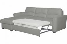 canapé d'angle convertible en cuir de luxe italien , 5 places lugano, gris clair, angle gauche