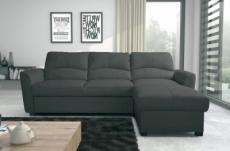 canapé d'angle convertible en cuir de luxe italien , 5 places lugano, gris foncé, angle droit