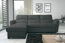 - canapé d'angle convertible en cuir de luxe italien , 5 places lugano, gris foncé, angle gauche